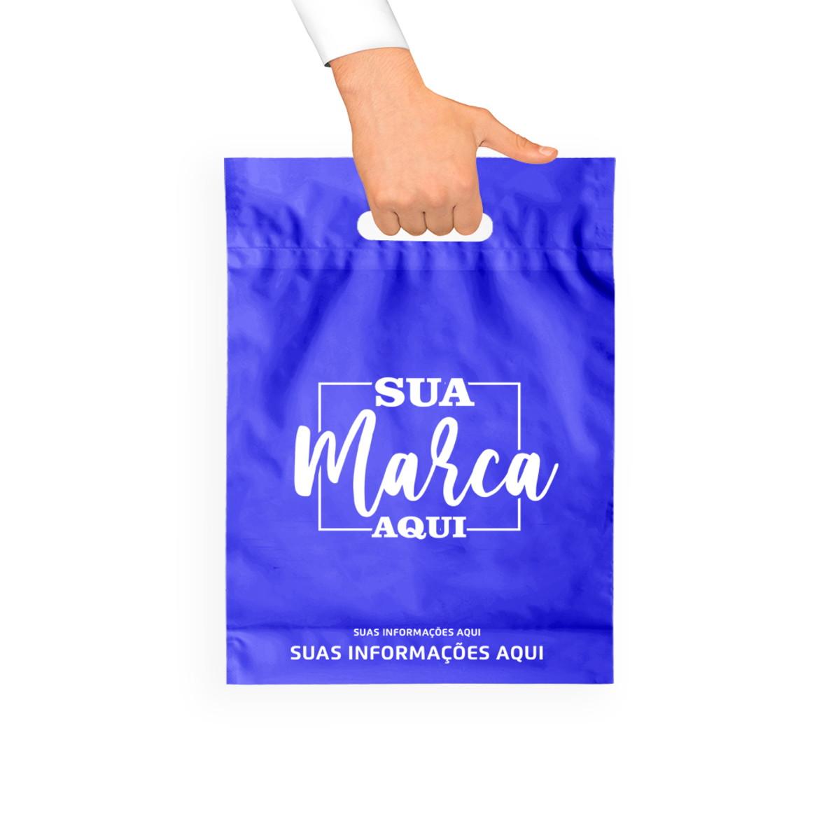 sacola plástica azul